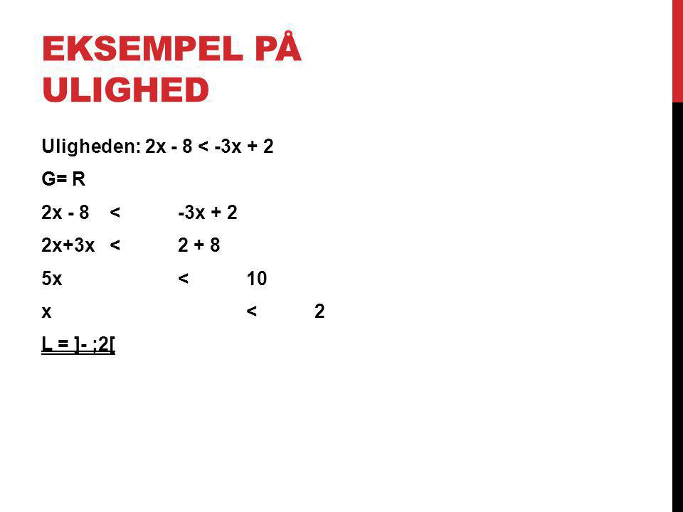 Eksempel på ulighed Uligheden: 2x - 8 < -3x + 2 G= R 2x - 8 < -3x + 2 2x+3x < 2 + 8 5x < 10 x < 2 L = ]- ;2[